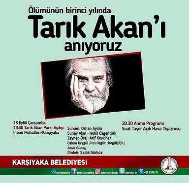İzmir Karşıyaka Belediyesi Tarık Akan'ı Anma Programı