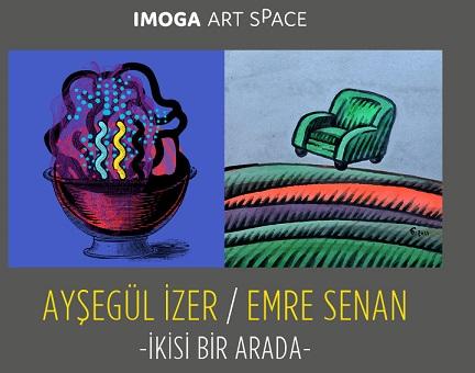 "IMOGA Art Gallery Resim Sergisi – Ayşegül İzer, Emre Senan ""İkisi Bir Arada"""