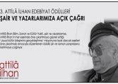 3. Attilâ İlhan Edebiyat Ödülleri Çağrısı
