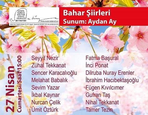Sabahattin Ali Kültür Merkezi ve Cemal Süreya Kültür Sanat Derneği – 'BAHAR ŞİİRLERİ'