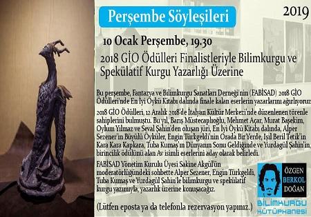 Photo of Özgen Berkol Doğan Bilimkurgu Kütüphanesi Perşembe Söyleşisi – 2018 GİO Ödülleri Finalistleri ile Bilimkurgu ve Spekülatif Kurgu Yazarlığı Üzerine