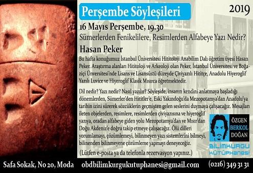 Photo of Özgen Berkol Doğan Bilimkurgu Kütüphanesi Perşembe Söyleşisi – Sümerlerden Fenikelilere, Resimlerden Alfabeye Yazı Nedir?