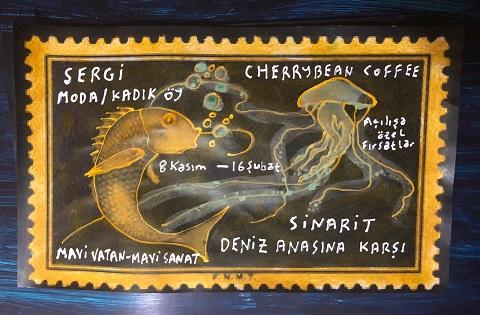 """Photo of Cherrybean Coffee Resim Sergisi – Bülent Bakan """"Sinarit Denizanasına Karşı"""""""